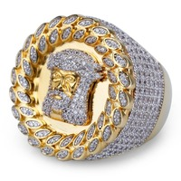 Hip Hop AAA CZ Stone Paved Bling Ice Out JESUS Piece Ring Big Round Gold Rings for Men Rapper Jewelry Drop Shipping