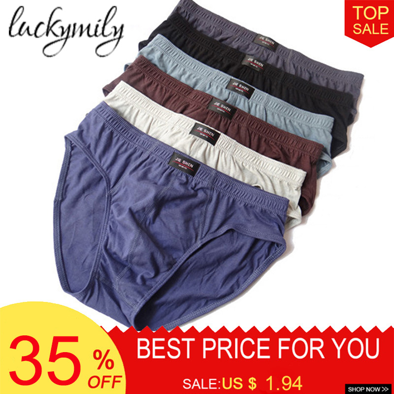 Luckymily New Arrival Solid Briefs Factory Direct Sale M-5XL Mens Brief Cotton Mens Bikini Underwear Pant For Men Sexy Underwear