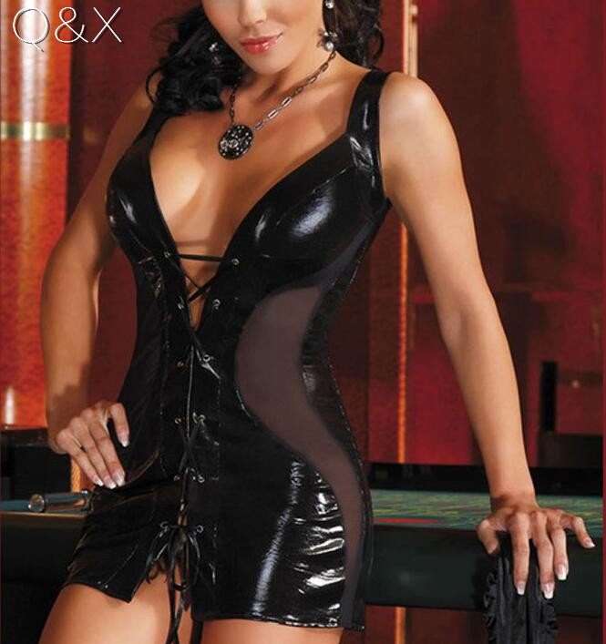 XX9 <font><b>2017</b></font> Solid Black Leather Lingerie Fuax Leather <font><b>Sex</b></font> Erotic Clothes See Through Mesh Draped Sexy Lingerie 2XL Sexy Tie Costume image
