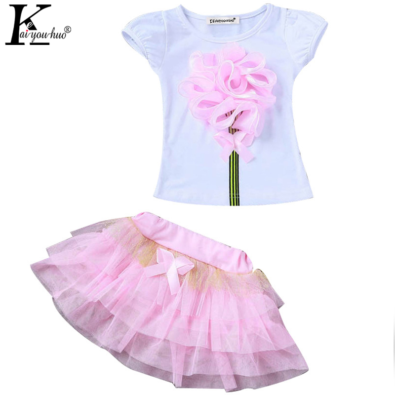 KEAIYOUHUO Girls Clothes Sets Costumes For Kids T-shirt+Tutu Skirt Sports Suit Children Clothing Outfits Suits 3 4 5 6 7 8 Years