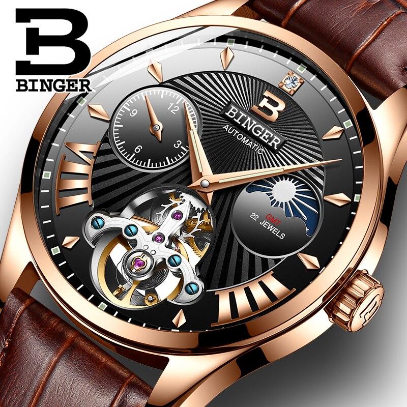 New Switzerland Auto Mechanical Watch Men Binger Role Luxury Brand Men Watches Skeleton Sapphire Male Clock