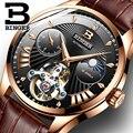 Nova Suíça Auto Mecânica Homens Relógio Binger Relógios Homens Marca De Luxo Papel B-1186-8 Safira Esqueleto Masculino Relógio À Prova D' Água