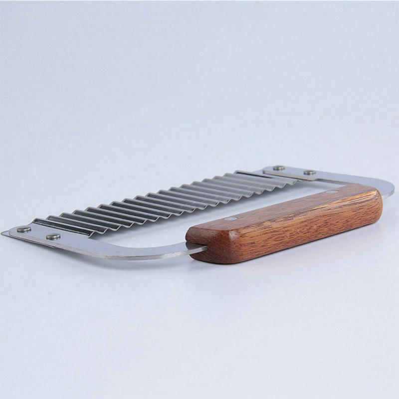 AMW Stainless Steel Potato Cutter Wooden Handle Lattice Vegetable Chopper Kitchen Accessories
