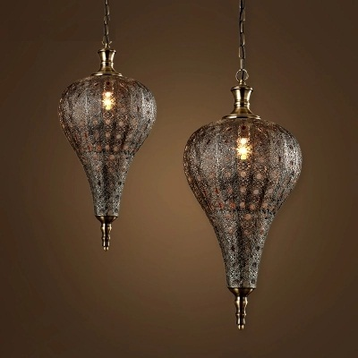 Loft Style Hollow Iron Droplight Industrial Vintage LED Pendant Light Fixtures For Dining Room Hanging Lamp Indoor Lighting