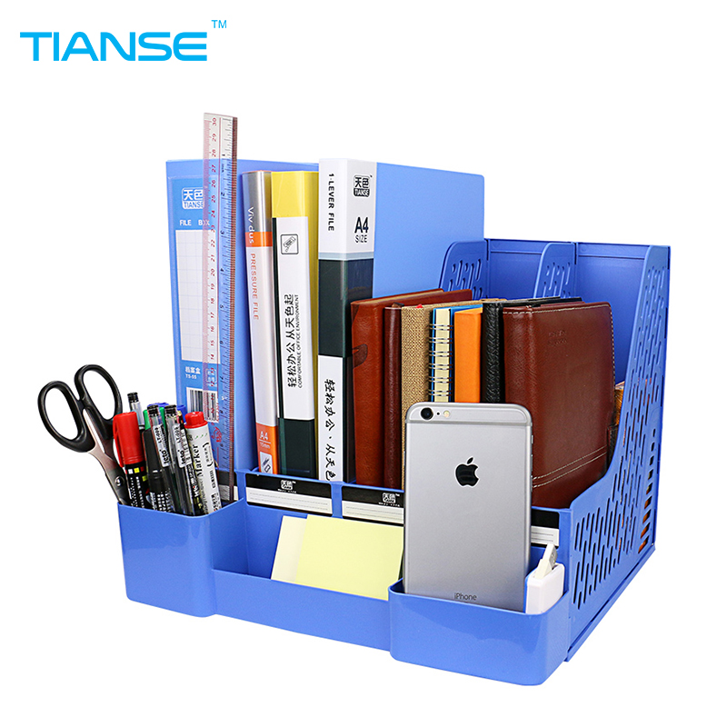 TIANSE blue document trays plastic file holder with small cases file organizer for desktop storage office suppiles collection deli 78980 document trays file box pen holder functional file organizer 3 cases desktop storage file folder