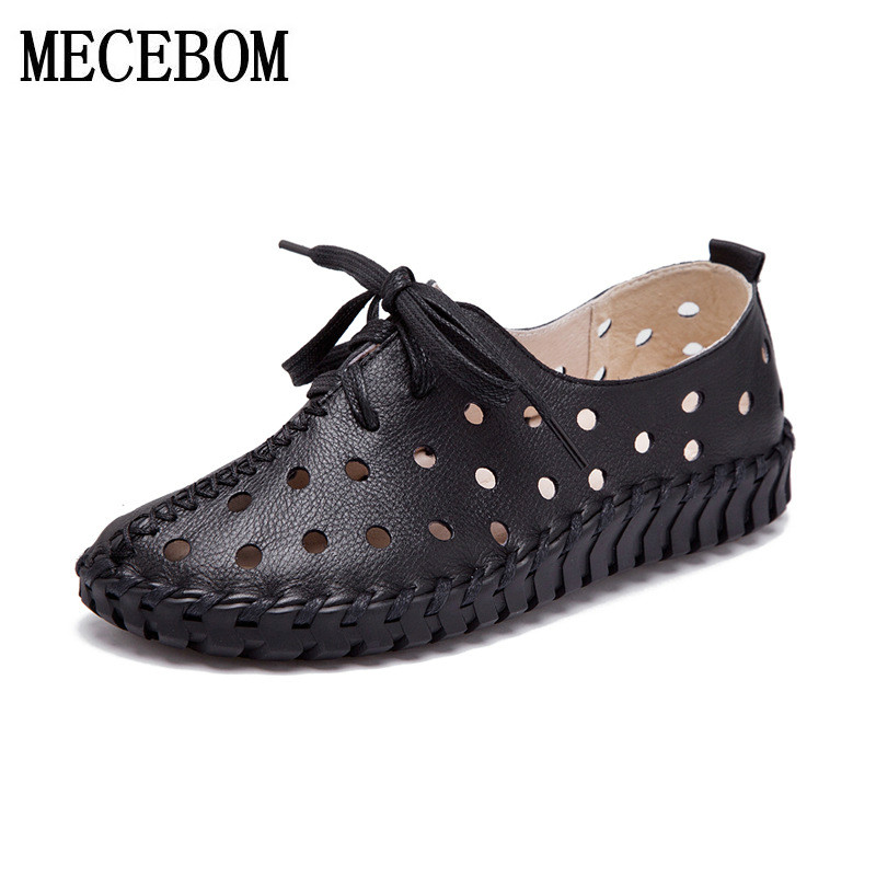 2018 Handmade Women Genuine Leather Flat Shoes Lace Up Women Moccasins footwear solid Loafers Casual Ladies Shoes 6 Colors 1605W