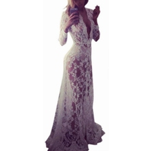 Plus Size 2018 Sexy Hollow Out Black White Lace Dress Women Summer Long Sleeves Dress Elegant Beach Long Dress Vestidos wildpinky hollow out off shoulder dress long sleeves white lace dress women casual sexy embroidery dress long sleeve vestidos