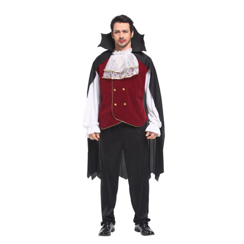 New Hot Mens Gothic Vampire Costumes Europe Vampire Adults Man Cosplay Outfit For Halloween Carnival Party Role Play Costumes