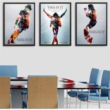 Cartel vintage negro y Serie Blanca Michael Jackson. Lienzo pianting para pared de salón imágenes artísticas sin marco