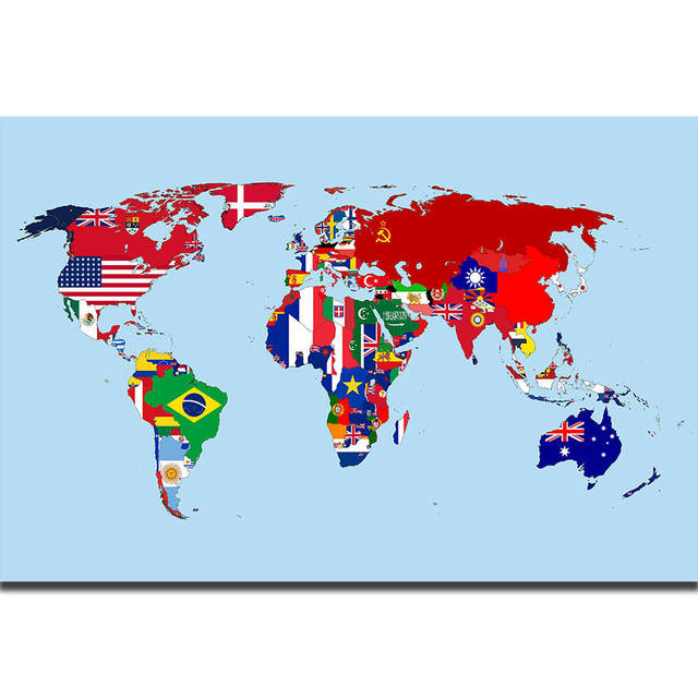 All Flags Of The World Map 24x32inch Silk Poster Shop Room Decal