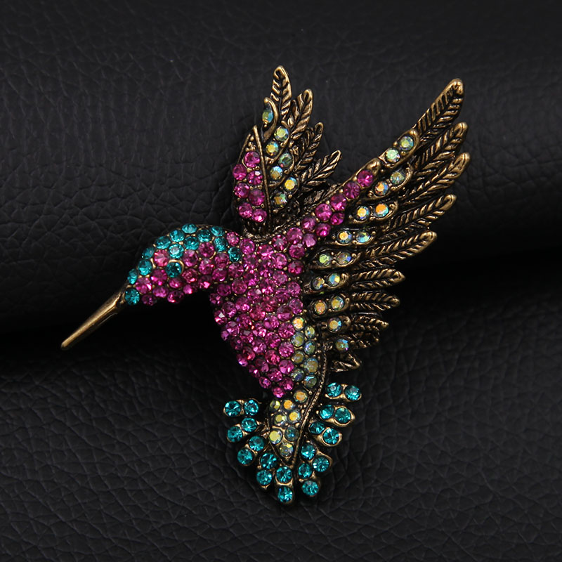 Vivid Hummingbird Brooch Pin Crystal Rhinestone Animal Bird - Сәндік зергерлік бұйымдар - фото 2