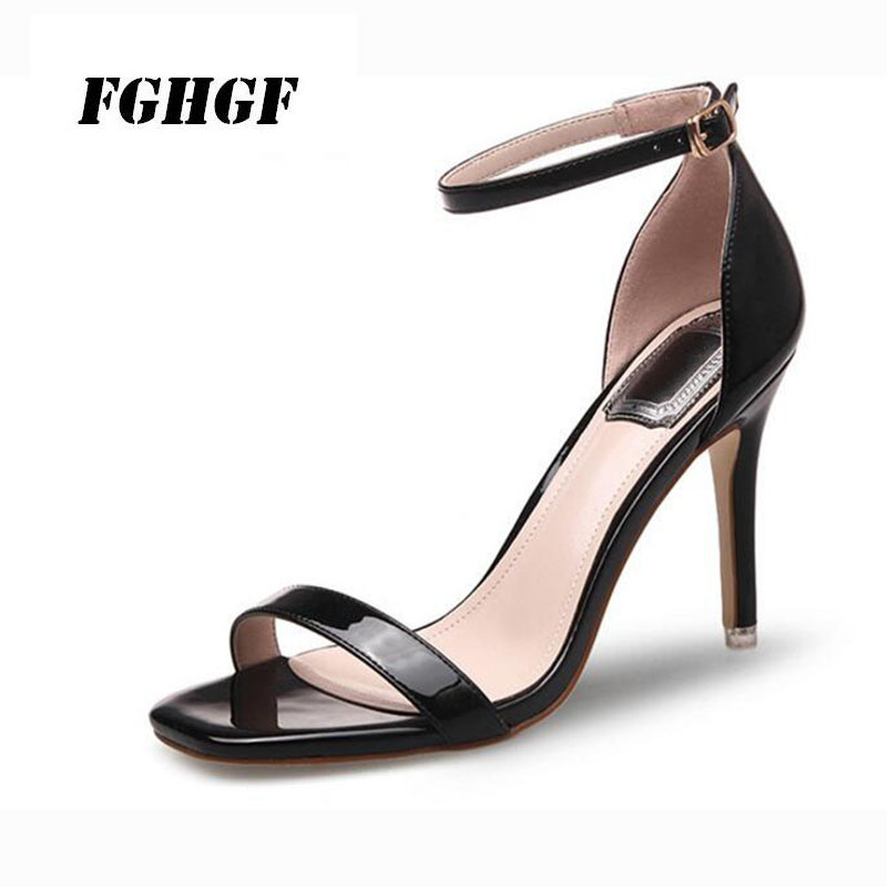 Patent leather and silver high-heeled summer sandals Female a word buckle open toe color women's shoes black sexy shoes 34-40