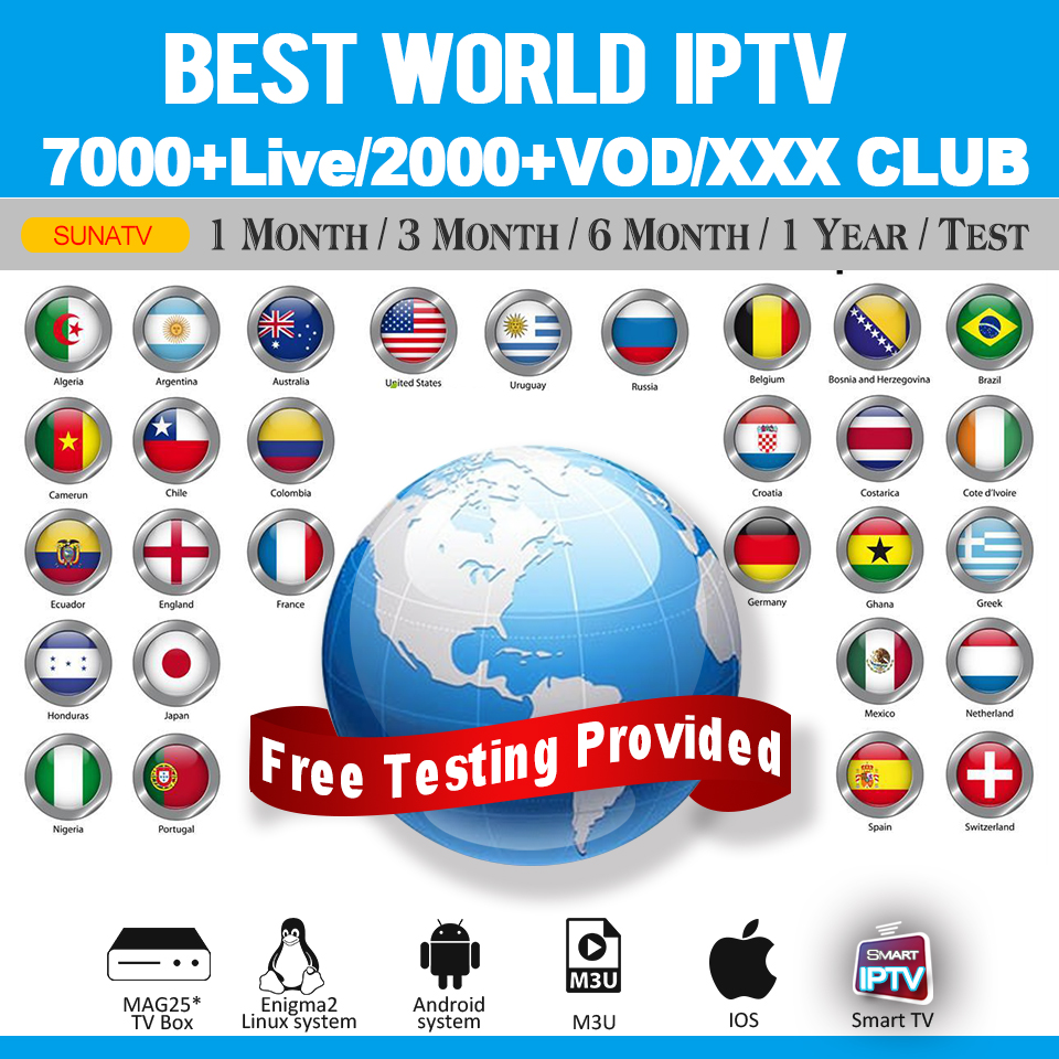 IPTV M3U Smarters Subscription For Android TV Box 7000+Live 2000+VOD Arabic/French/UK/Germany/Canada Mag M3u Enigmas2 Replay