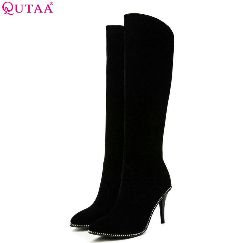QUTAA 2019 Women Knee High Boots Fashion Thin High Heel Winter Boots Sexy Pointed Toe Women
