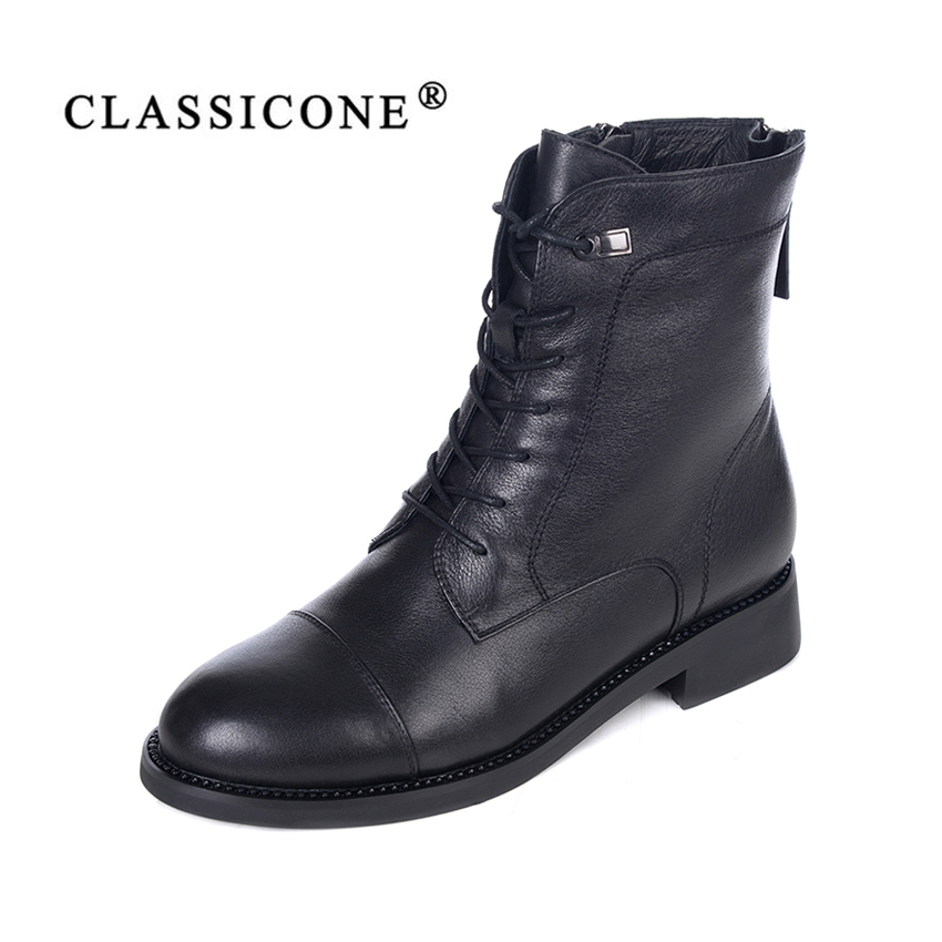 CLASSICONE 2018 chaussures femme hiver cheville bottes appartements laine chaud en cuir véritable marque de mode style designers de luxe noir sexy