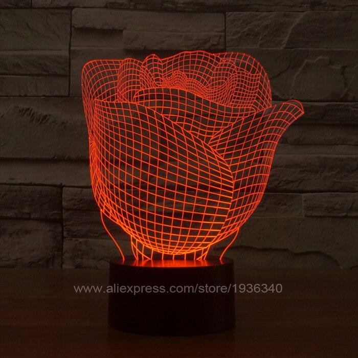 Free Shipping 3D DECO Rose shape led night light lamp 3D bulbing ...