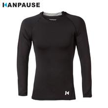 Новое поступление, KANPAUSE, Мужская компрессионная футболка с длинным рукавом для тренировок, облегающая футболка для бега, спортивная одежда