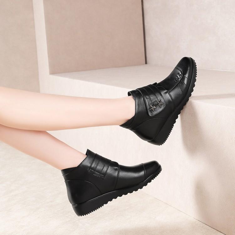 Noir Supérieure Moine Zapatos Talon Cheville De À Cuir En Boucle Chaussures Pour Caoutchouc Chic Femmes Femme Bottes Véritable Plate Mujer Luxe Coudre Winer q1H7x5