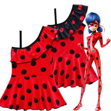 Miraculous Ladybug one piece 2018 SwimwearSuit costumes cosplay Children party Swimming Suit Lady bug Girls red kids Beach dress(China)