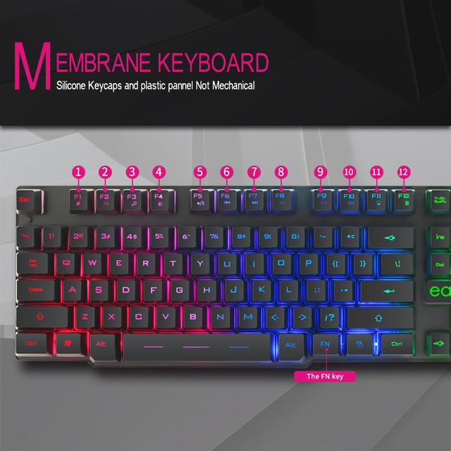 Gaming Keyboard Imitation Mechanical Keyboard 104 Keycaps RGB Backlit Keyboard Computer Gamer Keyboard Ergonomic For Laptop DOTA
