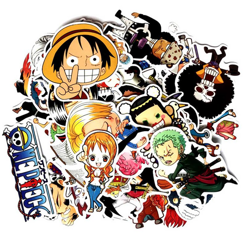125 Pcs/Lot Anime 2018 ONE PIECE Luffy Stickers For Car Laptop PVC  Backpack Home Decal Pad Bicycle Waterproof Decal(China)