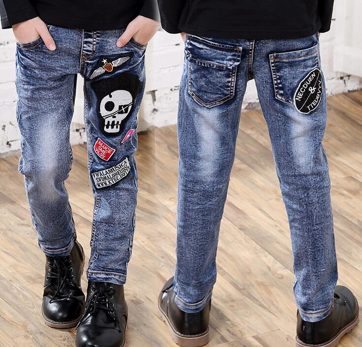 New Brand Fashion embroidery Skull Boys Jeans Elastic Waist Big Boys Jeans Children Autumn Pants Jeans For Kids Boy Trousers 2017 new fashion men slim fit stretch biker jeans patchwork elastic white jeans pants for motorcycle famous brand size 28 to 38