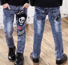 New Brand Fashion embroidery Skull Boys Jeans Elastic Waist Big Children Autumn Pants For Kids Boy Trousers