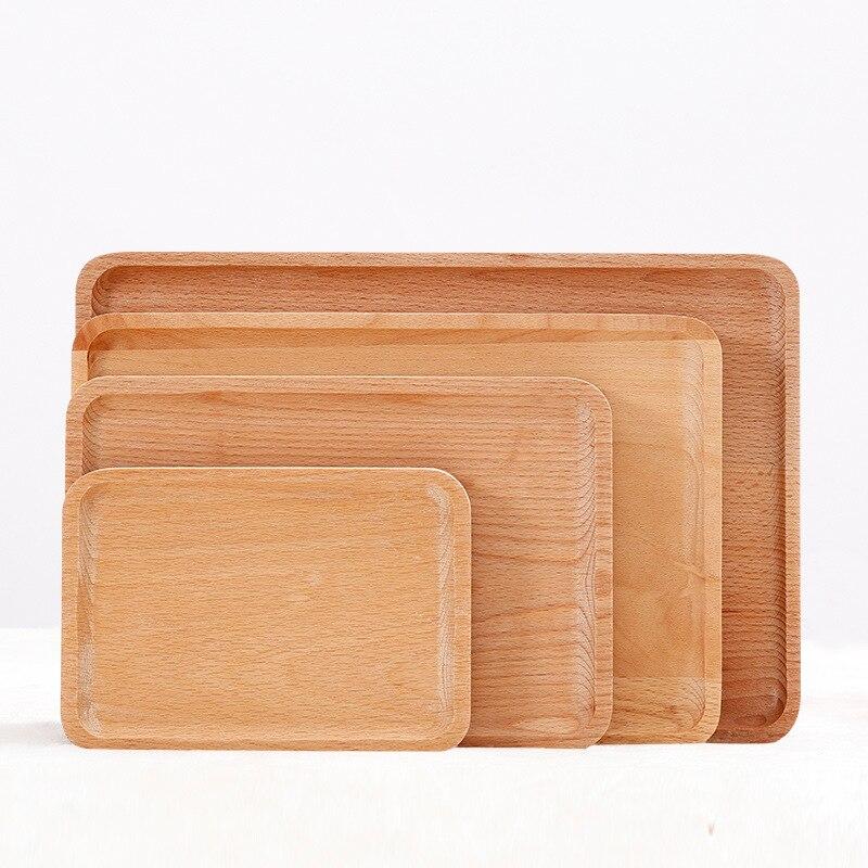 Прямоугольный поднос для сервировки стола из массива бука, декоративные подносы, подносы для чая / кофе / завтрака / хлеба / сервировки, набор из 4 штук