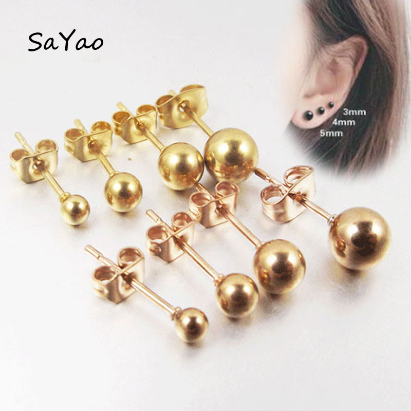 2 Pieces 0 8mm Rose Gold Silver Surgical 316l Stainless Steel Ball Stud Earring Punk Ear Tragus Piercing For Men Women