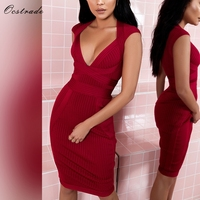 Ocstrade New Arrival Summer Sexy Women Bandage Dress 2018 High Quaity Party Deep V Wine Red