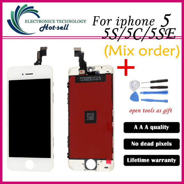 Mejor calidad aaa sin píxeles muertos para iphone 5 5g 5se 5S reemplazo ensamblaje de la pantalla lcd con el digitizador del tacto