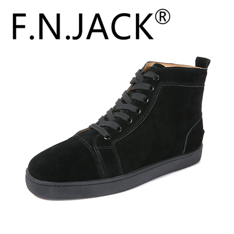 FNJACK Fashion Louis Orlato Multi Suede Sneaker Hi-top Flat Red - Kasut lelaki