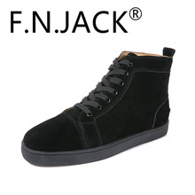 ФОТО fnjack fashion louis orlato multi suede sneaker hi-top flat red bottom shoes classic fashion trainers high quality shoes