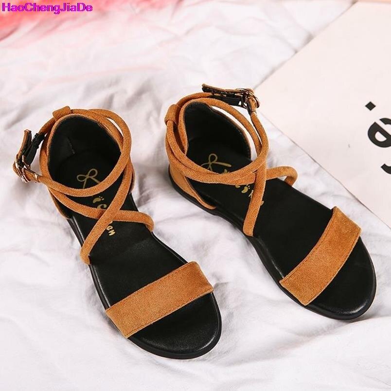 HaoChengJiaDe New Summer 2018 Girls Sandals Peep-toe Roman Princess Fashion Baby Girl Soft Bottom Hollow Out Shoes For School