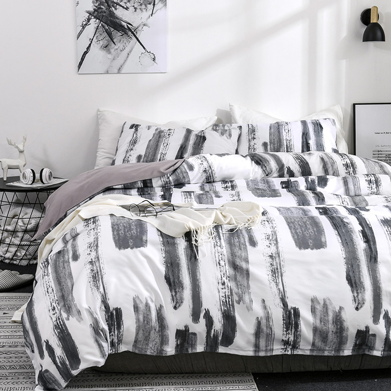 Simple Leisure Bedding Linens Set Modern Quilt Comforter Cover Pillowcases US Twin Queen King Duvet Cover Set for Adults Bed