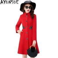 AYUNSUE Casaco Feminino шерстяное пальто женское с вышивкой длинное розовое черное красное пальто Новая модная женская куртка Abrigos верхняя одежда KJ170