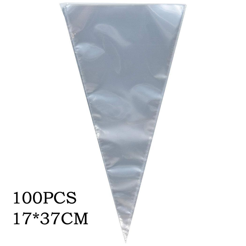 100PCS DIY Cone Shape Cellophane Bags Birthday Transparent Wedding Candy Flower Casual Birthday, Bag Gifts