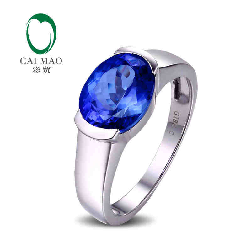 CaiMao 18KT/750 White Gold 3.01 ct Natural IF Blue Tanzanite AAA Engagement Gemstone Ring Jewelry