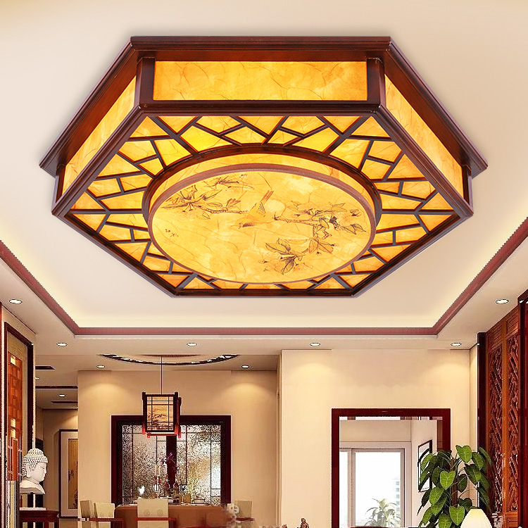 Chinese style Wooden ceiling light restaurant dining room lighting printing PVC imitation sheepskin ceiling lamp ZH