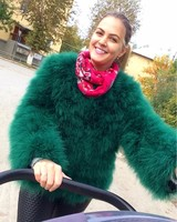 Factory Price Women shaggy Fluffy Ostrich Feather Fur coats autumn and winter Top fashion Soft fur coats outerwear