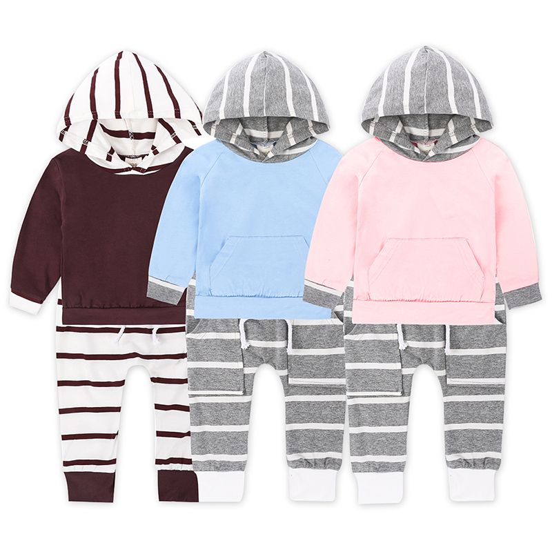 New Striped Clothes for Girls 2 Pcs Set of Spring T-shirts + Leggings Pants Clothes for Girls Boys Children Baby Clothes SY251