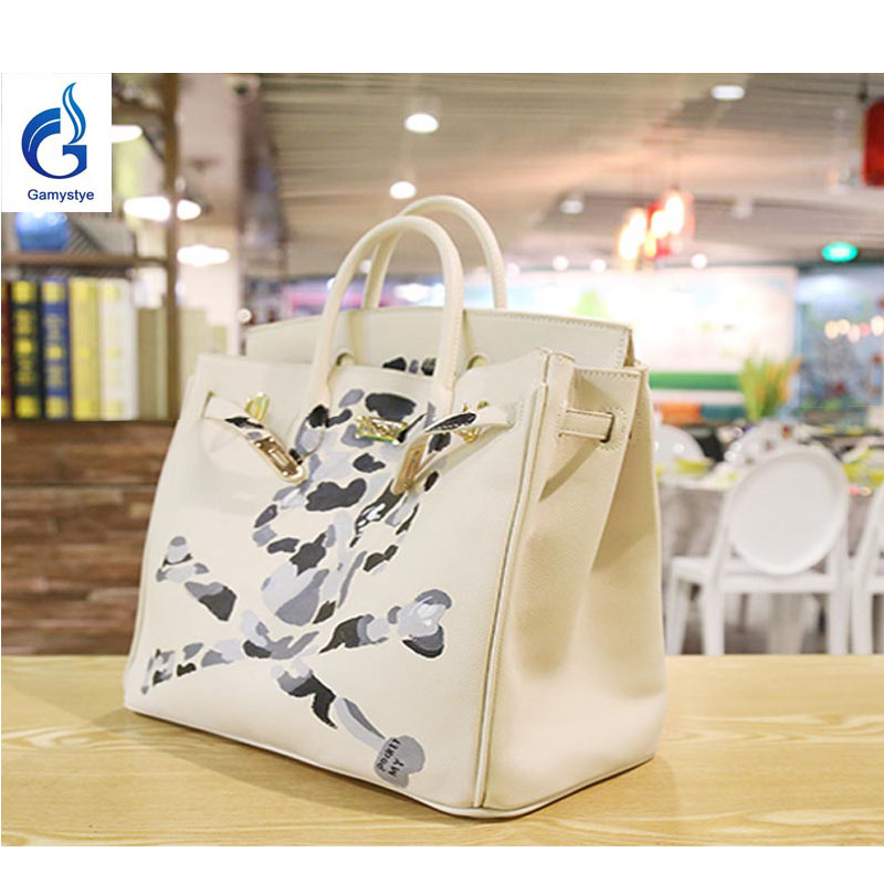 GAMYSTYE Graffiti Custom luxury handbags women bags designer Hand Painted bags painting white skull rock totes Bags 35cm Doodle rock skull graffiti custom bags handbags women luxury bags hand painted painting graffiti totes female blose women leather bags