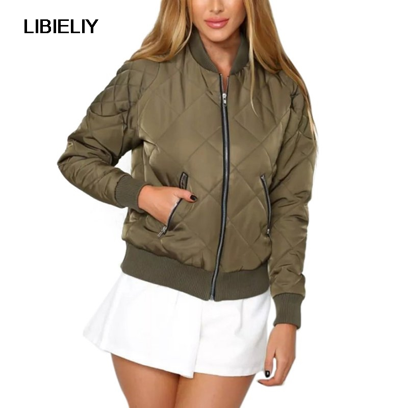 Women Clothing Casual Autumn   Basic     Jacket   Coat Zipper Army Green Bomber   Jacket   Winter Women Cool Outwear Parka 2 Colors S-L