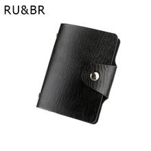 Promotion Black PU Leather Card Case Business Card Holder Men Women Credit Card Bag ID Card