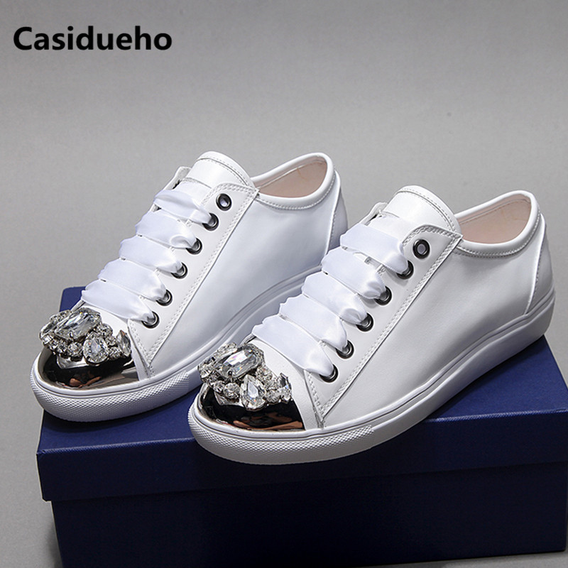 Rhinestone Shoes Woman Metal Toe Flats Lace Up Lace Up Soft Leather Sneakers Tenis Feminino Low Top Zapatos Mujer Oxfords 2018