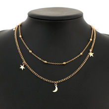 Boho Star Moon Multi Layer Pendant Necklace for Women 2018 Bohemian Flower Necklaces Vintage Fashion Collar Costume Jewelry(China)