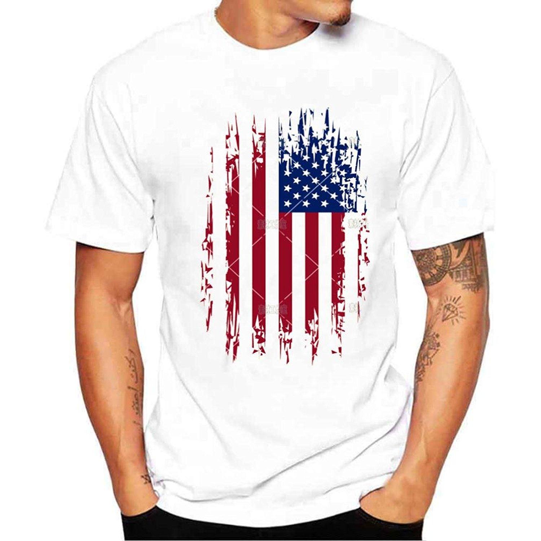 Blouse, Han Shi Men Fashion American Flag Short Sleeve Plus Size T-shirt Tee Tank Men Casual Short Sleeve T Shirts Top Tee