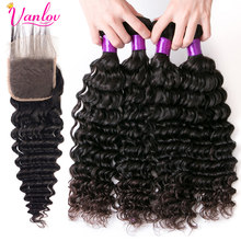 Vanlov Deep Wave 4 Bundles With Closure 4*4 Free Part 100% Human Hair Bundles With Closure Remy Hair Double Weft With Closure(China)