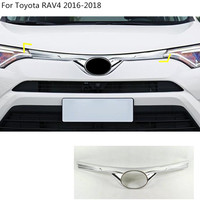 Car garnish cover ABS chrome panel front engine Machine grille hood stick lid trim For toyota RAV4 2016 2017 2018