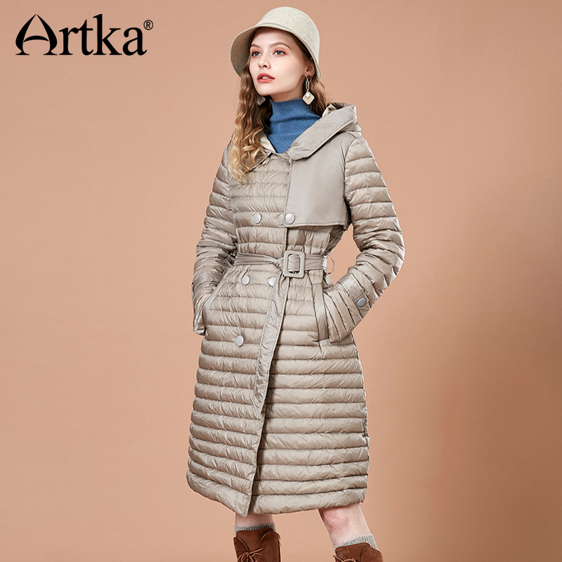 ARTKA Striped Long 90% White Duck Warm Down Coat YK10585